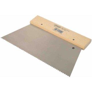 Rechteck - Zahnspachtel Typ: C2, 6 x 6 mm, Breite: 18 cm Stahlblatt, Holzrücken, Trapezform