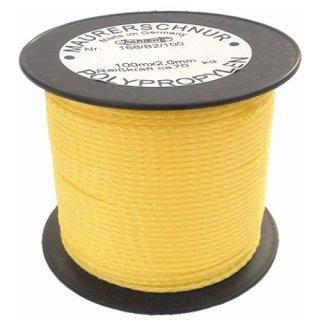 Lot- und Maurerschnur gelb-floureszierend, 3 mm, 100 m, Polypropylen