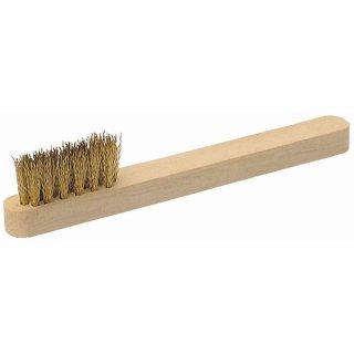 Zündkerzenbürste Messing 3-reihig mit Holzgriff