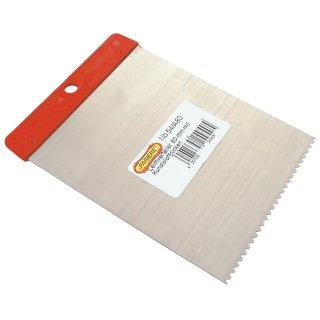 Leimverteiler, Zahnspachtel, Stahlblatt fein gezahnt, mit Kunststoffrücken 120 mm