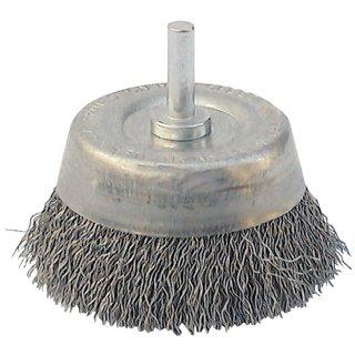 Topfbürste, rostfreier Stahldraht, 75 mm, mit 6 mm-Schaft